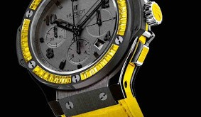 Black Ceramic Hublot Big Bang Yellow Lemon watch replica